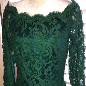 TADASHI SHOJI Emerald Green Lace Dress